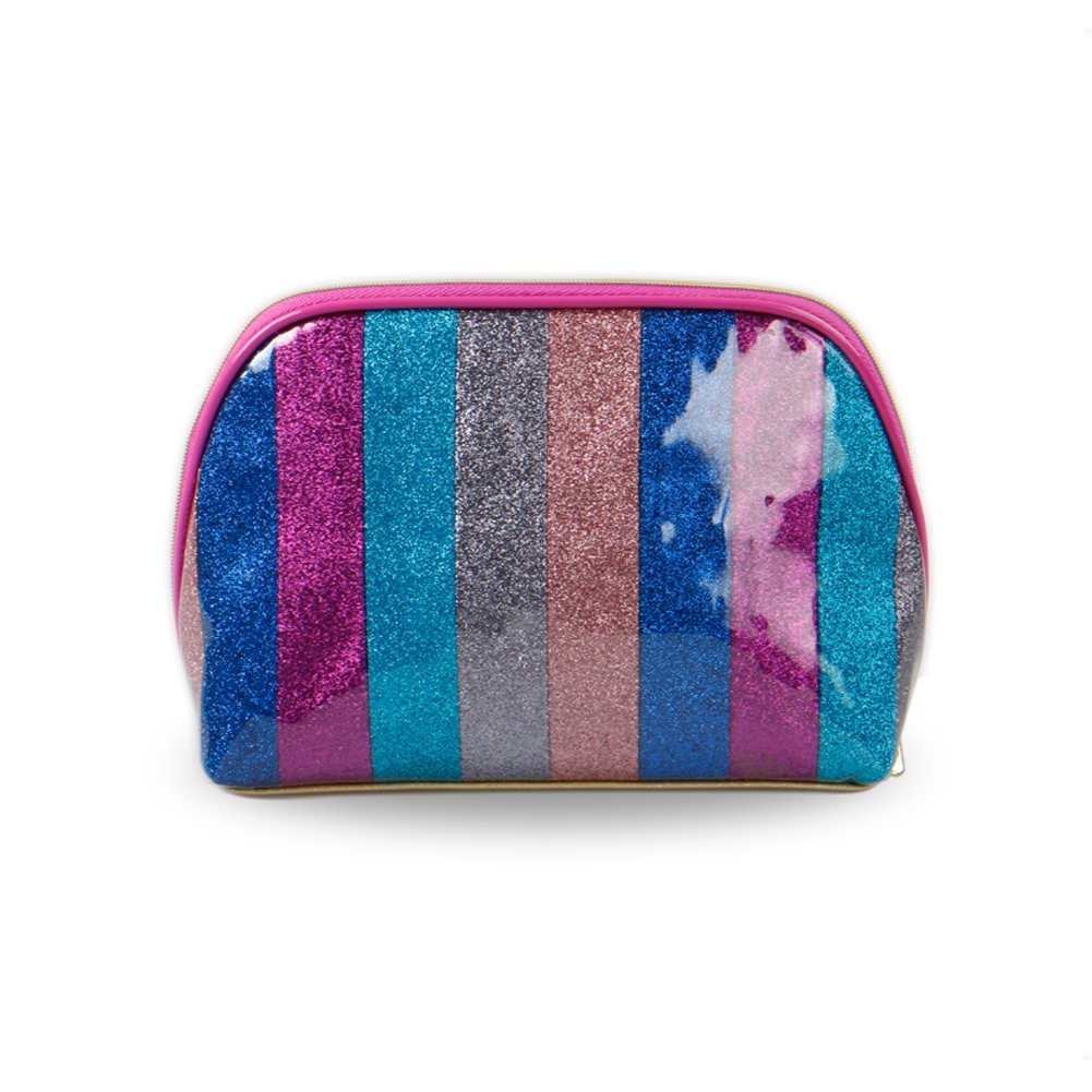 HaloVa Cosmetic Bag, Fashion Beautiful Stripe Toiletry Bag, Waterproof Portable Large Capacity Makeup Organizer Pouch Clutch Bag for Girl Women Female, Colorful