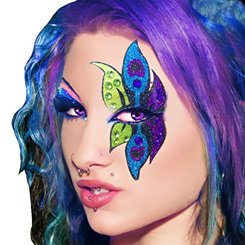Peacock Xotic Eyes Professional Eye Make Up Green Purple Blue (Showgirl Makeup For Halloween)