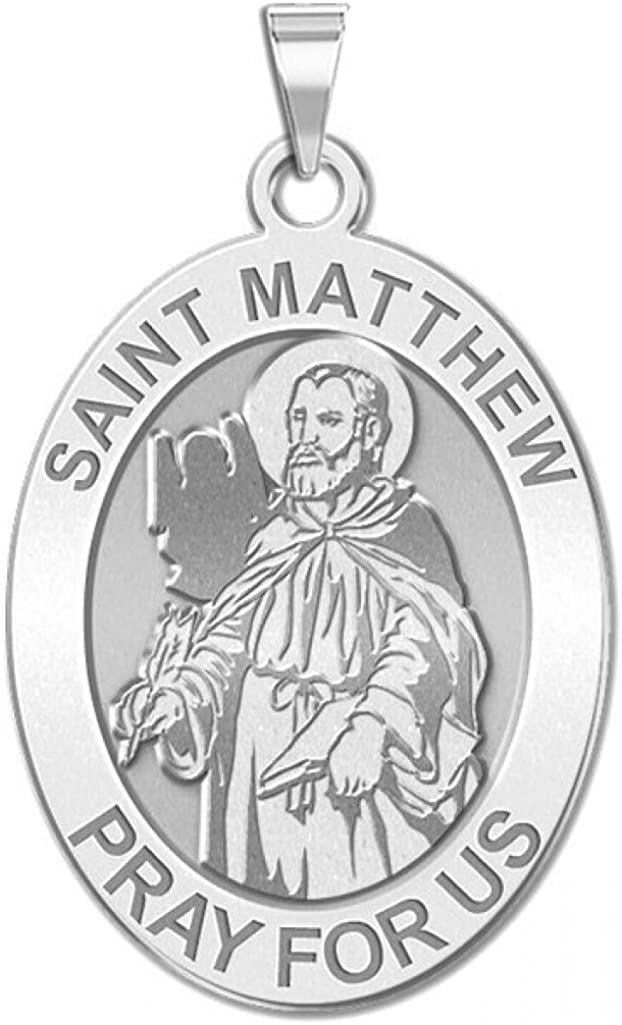 Sterling Silver 1//2 X 2//3 Inch Size of Dime PicturesOnGold.com Saint Matthew Oval Religious Medal