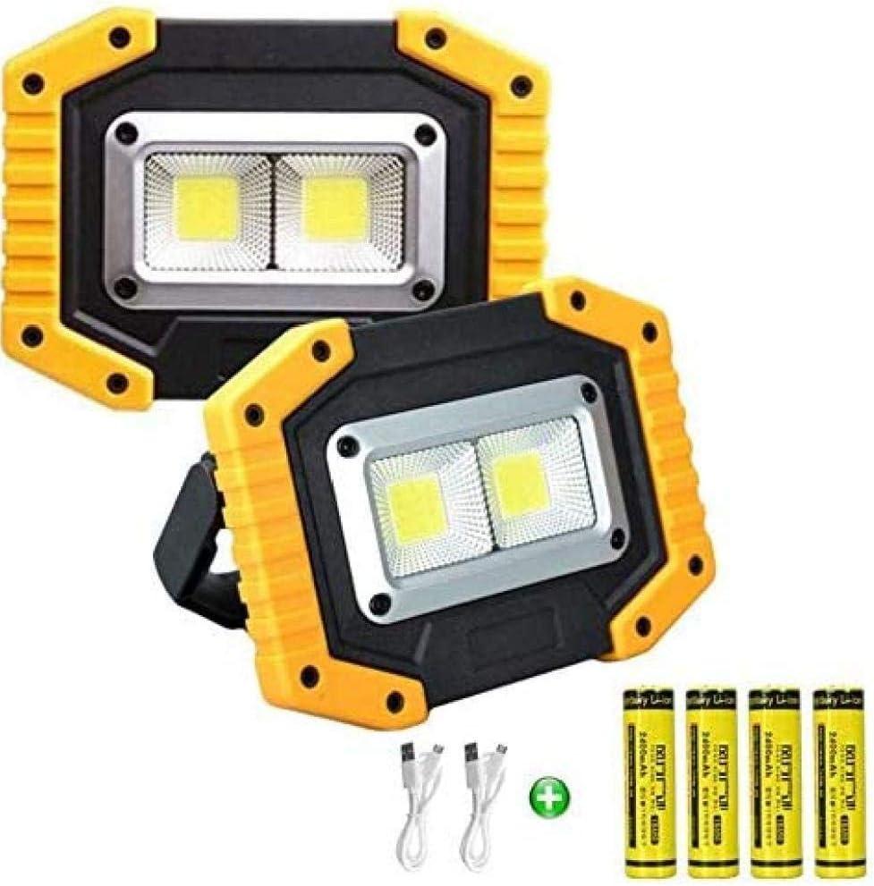 Garage asdfwe 2-Pack Portable LED Lampe De Travail /Étanche USB Ext/érieur Rechargeable pour Projecteurs Randonn/ée P/édestre P/êche P/êche