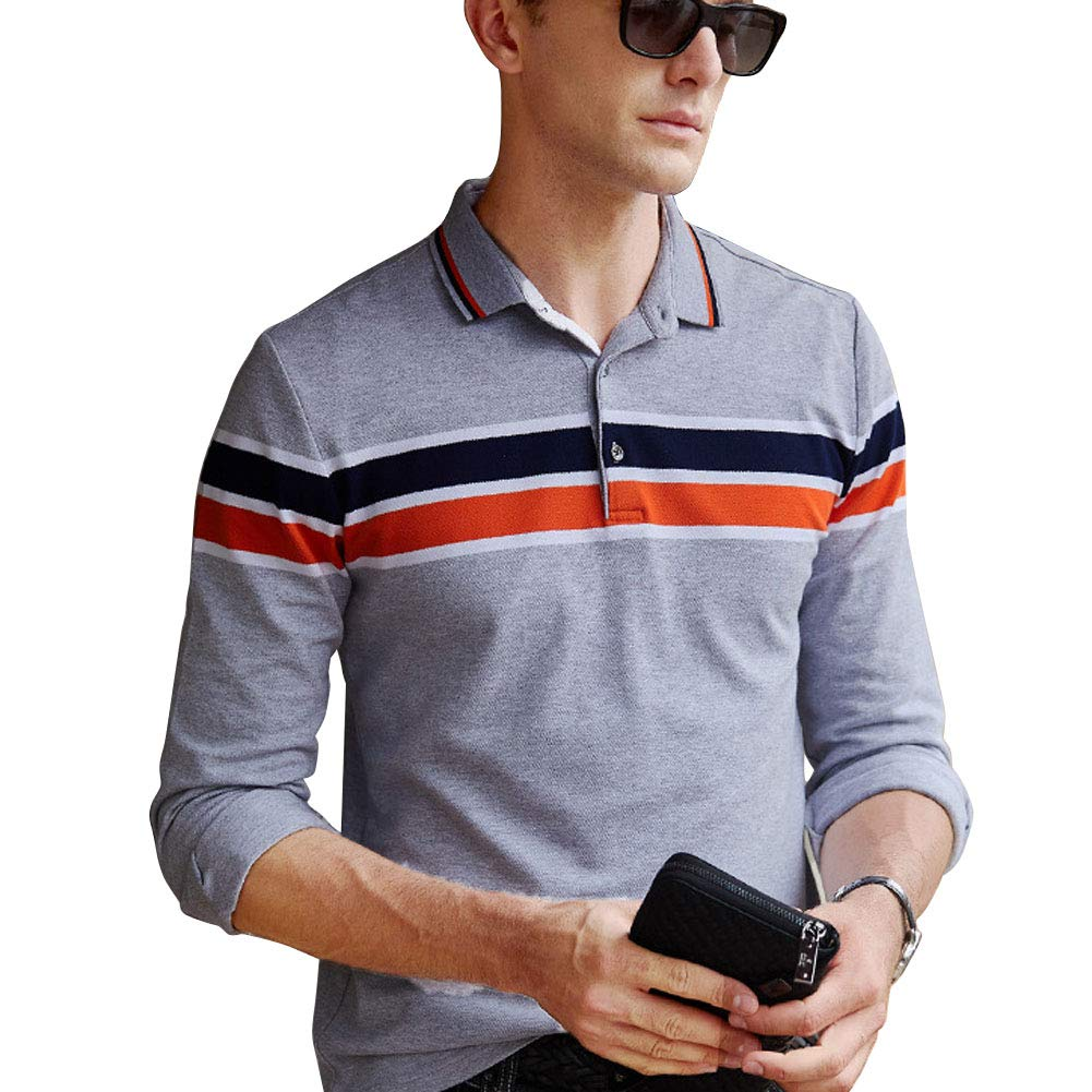 Wishere Mens Business Polo Shirt Long Sleeve Collared T Shirt At