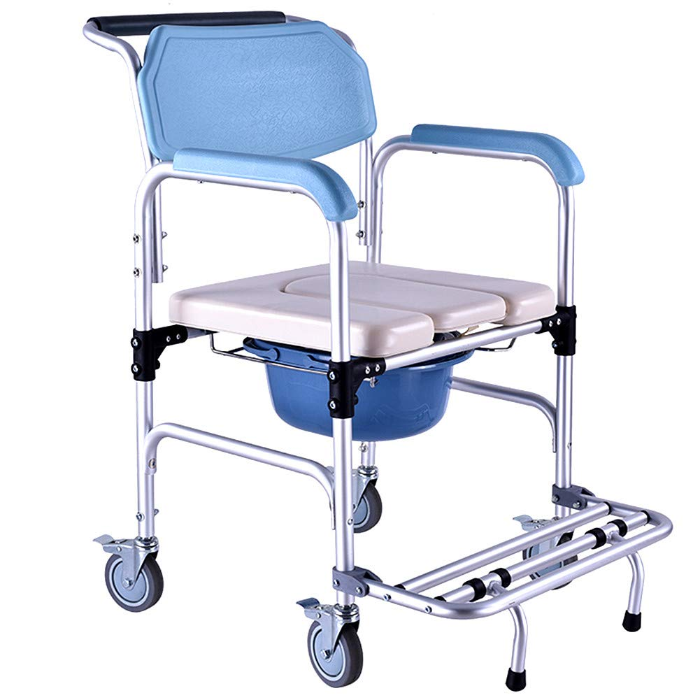 Amazon.com Nurth 3 in 1 Folding Portable Shower Chair Commode Mobile Commode with Wheels and Brakes Foldable Pedal; PU Commode Seat Aid Walking Chair Pail ...  sc 1 st  Amazon.com & Amazon.com: Nurth 3 in 1 Folding Portable Shower Chair Commode ...
