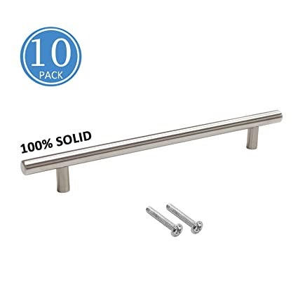 10 Pack Solid Brushed Nickel Cabinet Handles 7 9 16 Hole Centers