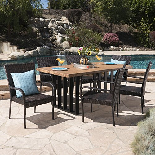 Great Deal Furniture 304095 Michelle Outdoor 7 Piece Multibrown Wicker Set with Natural Oak Finish Light Weight Concrete Dining Table, Black