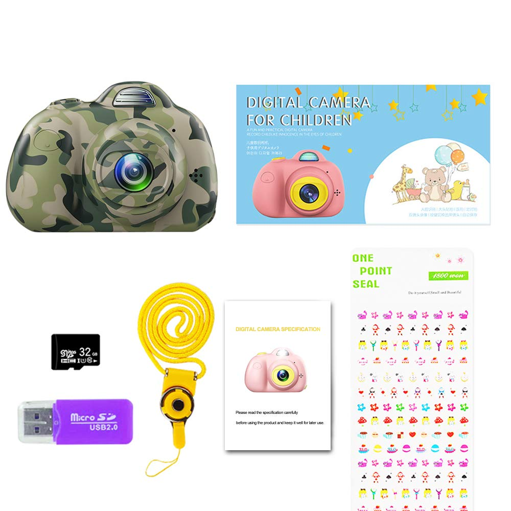 PerfectPromise Kids Camera,Great Gift for 3-10 Years Old Boys Girls,Dual 8MP HD Video Toy Camera & Camcorder with Soft Silicone Shell for Child Outdoor Play --Camo (32G TF Card Included) by PerfectPromise (Image #7)