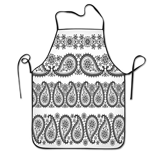 TRUSTINEE Winter Themed Design And Lace Like Ornaments With Flowers And Snowflakes Camping Cooking Kitchen Bib -