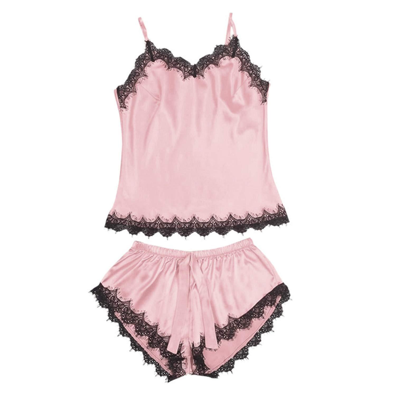42e44072f4436 Women Bow Sleepwear Sleeveless Strap Nightwear Lace Trim Satin Cami Top  Pajama Sets Mulher De Mujer at Amazon Women s Clothing store