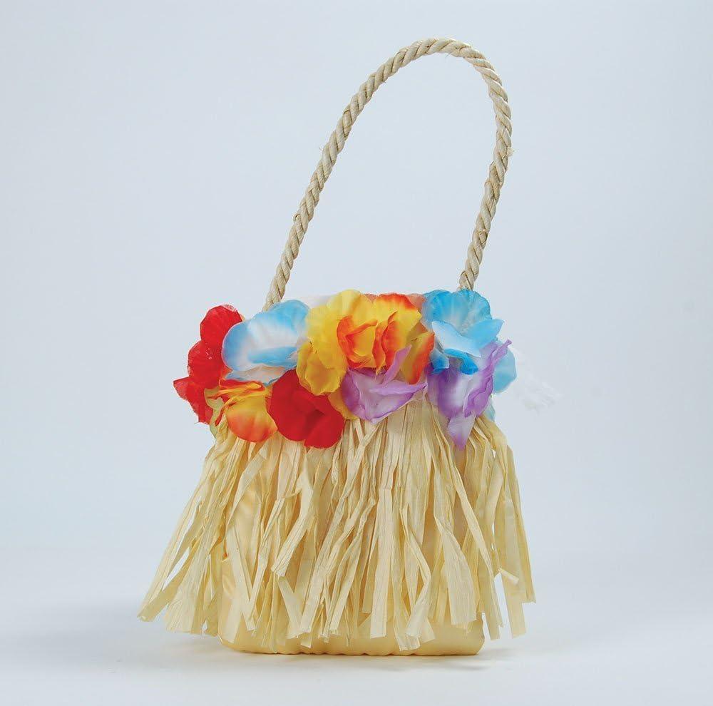 Hawaiian Straw Handbag Hula Tiki Ladies Girls Fancy Dress Costume Accessory