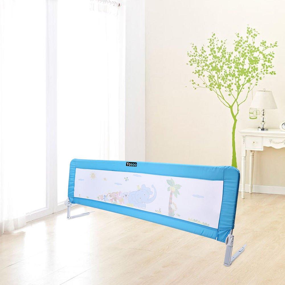 Barriera per letto da bambini,Barriera di sicurezza/protezione removibile per letto bambino,portatile letto protezione pieghevole universale (blu, 150 * 43 * 34.5 cm) GOTOTOP