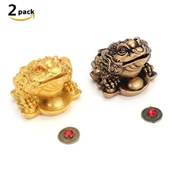Geldfrosch FENGSHUI Glücksfrosch dreibeinige Kröte Glücksbringer CHINA Bürotisch