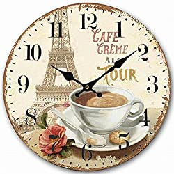 Telisha Wooden Wall Clock Paris French Eiffel Tower Coffee Cup Clock Retro Vintage Large Clock Home Decorative Country Non -Ticking Silent Quiet 14 Inch Gift