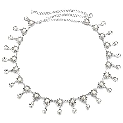 Lady Silver One-Row cristal strass ceinture corps ventre taille chaîne