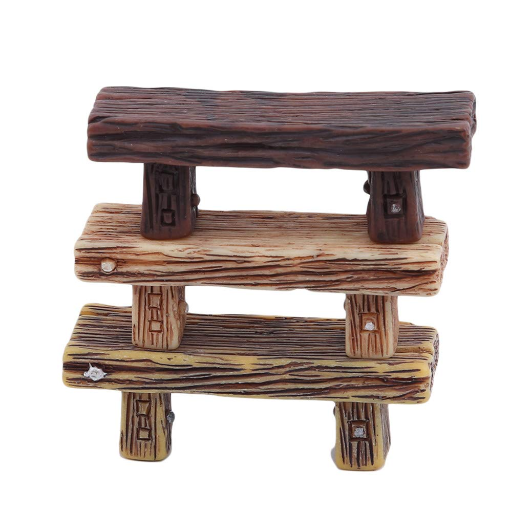 GOMYIE 3Pcs Retro Wooden Benches Miniature Ornaments Fairy Garden Bonsai Decorations Dollhouse Accessories(Multicolor)