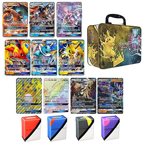 10 Jumbo Pokemon Cards in Collectors Chest Tin 1 Full Art Mega, 1 Mega EX, 3 GX and 5 EX (The Most Strongest Pokemon Card In The World)