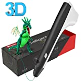 Tecboss Intelligent 3D Stylo Impression, 3D Stylo Imprimante avec Adaptateur UE, Cable USB et 2 Paquets de Filaments (Black)