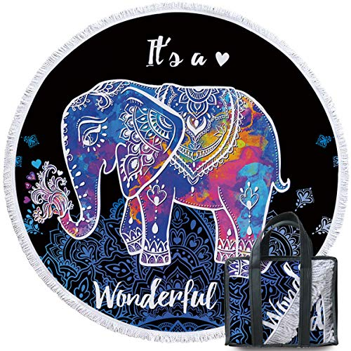Sleepwish Thick Round Beach Towel Terry, Elephant Beach Blanket, Beach Roundie Circle Yoga Mat with Fringe, Bohemian Elephant Beach Tapestry (Neon Henna, 60