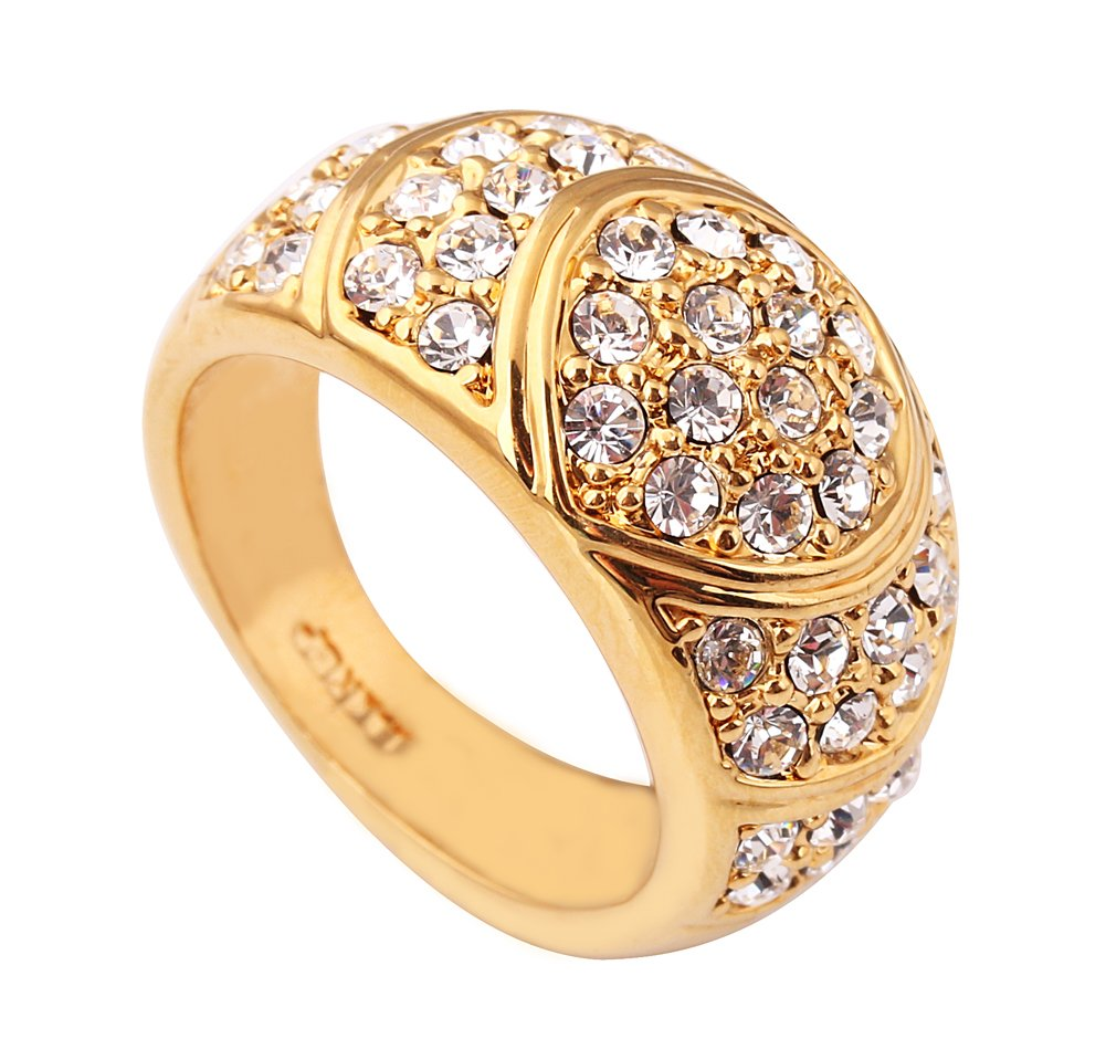 Acefeel Luxurious Gold Plated Gypsophila Pave Austrian Crystal Women's Men's Wide Ring R217