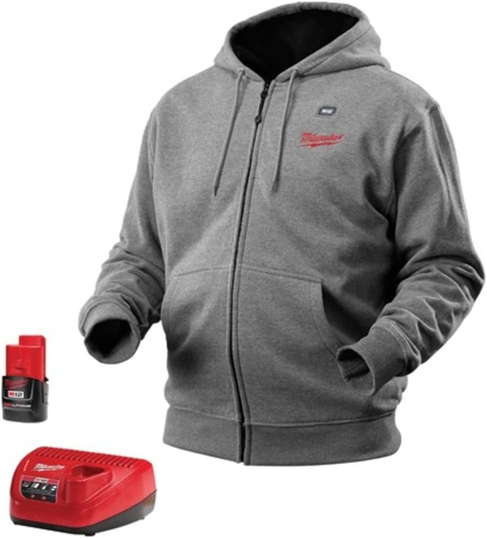 All Sizes and Colors Battery and Charger Included Milwaukee Hoodie M12 12V Lithium-Ion Heated Jacket KIT Front and Back Heat Zones 2X-Large, Gray