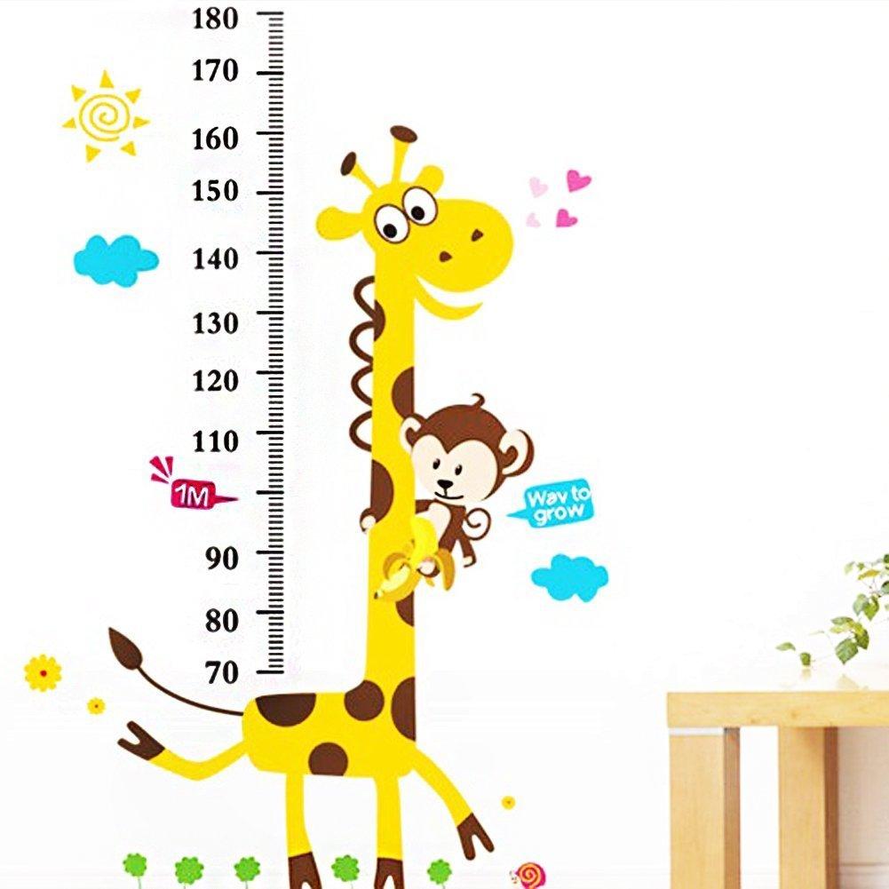 Toise Sticker mural Stickers Singe Girafe 180 cm Asunshine