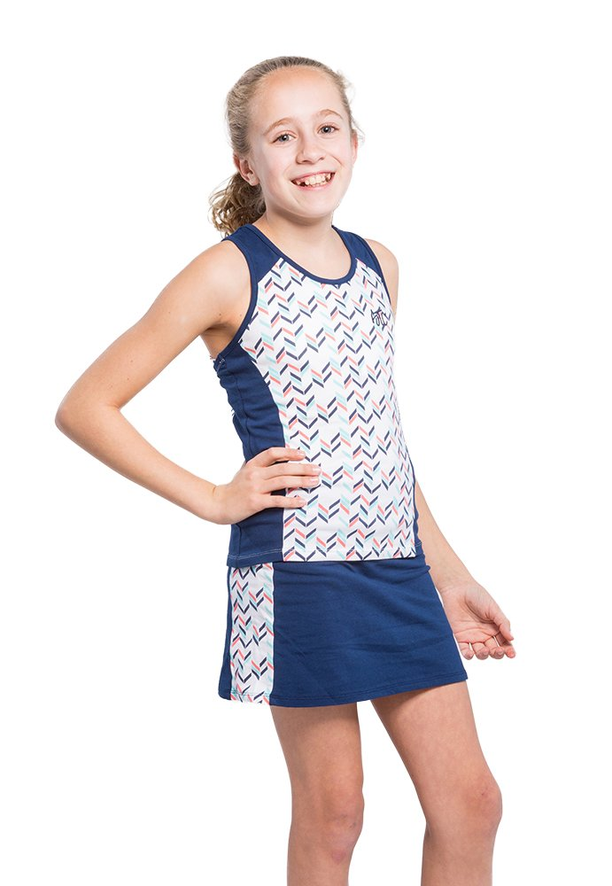 2 Piece Girls Tennis Dress Set - with Sleeveless Racerback Top and Tennis Skirt with Undershorts-Small Navy