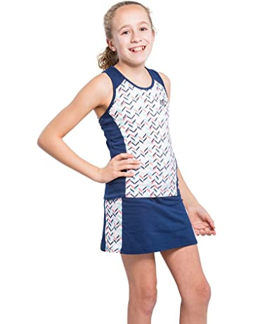 b70ff48098bd7 Girls' Tennis 2 Piece Breathable Dress Set - with Navy or Coral Sleeveless  Racerback Top