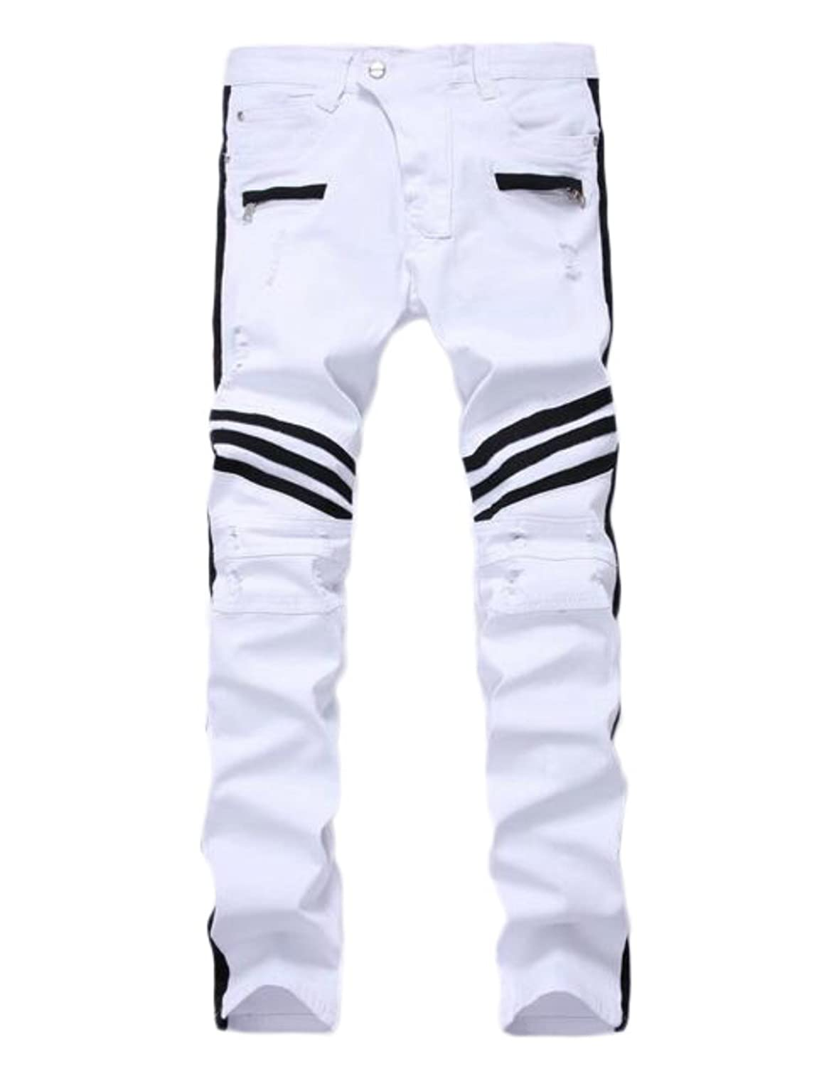 Mens White Biker Jean Slim Straight Destroyed Hole Ripped Skinny Moto Jean