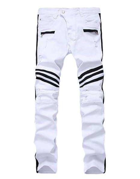 deiop pantalones vaqueros para hombre Biker Color Blanco ...
