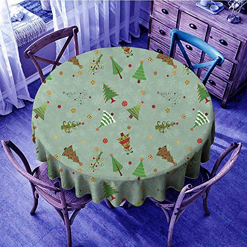 Snowflake Collection Tree Skirt - ScottDecor Christmas Tassel Tablecloth A Collection of Different Christmas Trees Holiday Themed Snowflake Background Overlays Round Tablecloth Multicolor Diameter 54