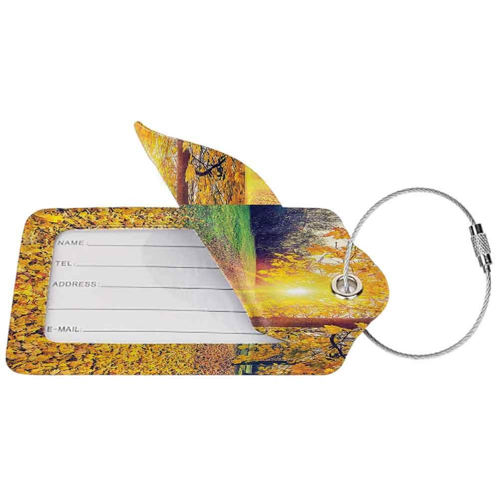 Waterproof luggage tag Farm House Decor Colorful Foliage In The Autumn Park Evening View Natural Decorating Picture Print Soft to the touch Yellow Green W2.7 x L4.6