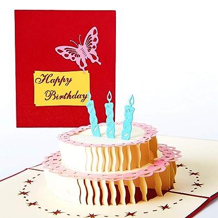 Tarjeta de cumpleaños en 3D, con 3 capas de tarta plegadas ...