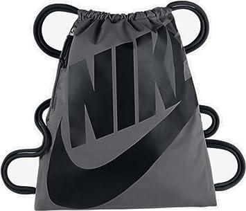 801c15ee60ae8 Nike Beuteltasche Heritage Kordelzug Gymsack Rucksack 400 Denier Sport  Schultasche (Wolf Grey Signature schwarz Swoosh