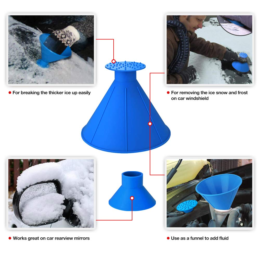 QUEES 2 Pack Ice Scraper Round Car Window Windshield Cone -Shaped 5.7″ Larger Coverage Diameter Snow Funnel Removal Tool with 4 Ice Breakers Blue