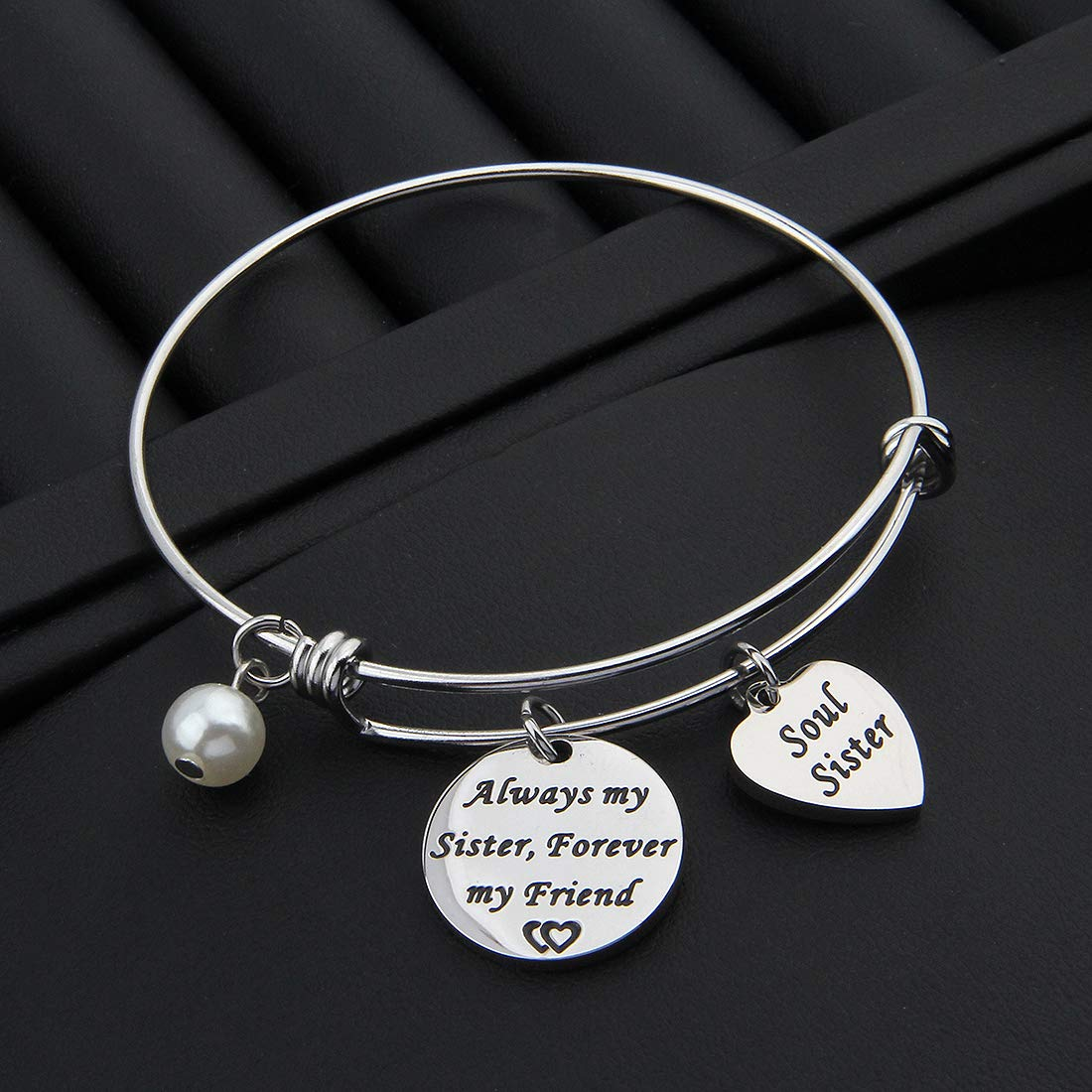 HOLLP Soul Sister Bracelet Always My Sister Forever My Friend Expandable Charm Bracelet Sister Friend Jewelry for Christmas Day Thanksgiving Day and Birthday