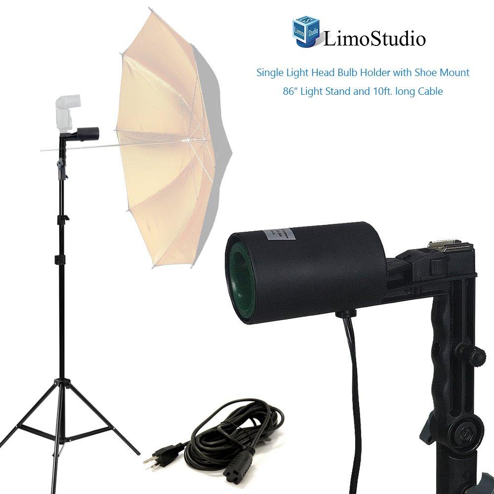 LimoStudio単一のヘッドフォトバルブソケットフラッシュブラケットe26標準ベースロックボタンサイズ、フラッシュ、傘反射板挿入ライトスタンド、三脚と延長コードPhoto Studio、agg2053 B01MU72GE4