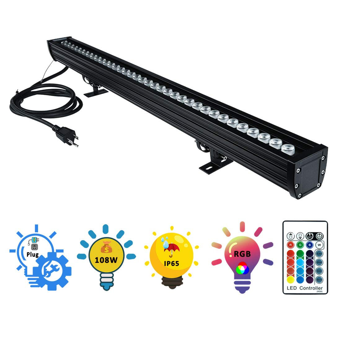 Wall Washer LED Lights, 108W RGBW Color Changing LED Strip Lights with RF Remote,120V, 3.2ft/40''Linear RGB LED Lights Bar for Outdoor/Indoor Lighting Projects Carnival Party Stage Casinos Bar Decor