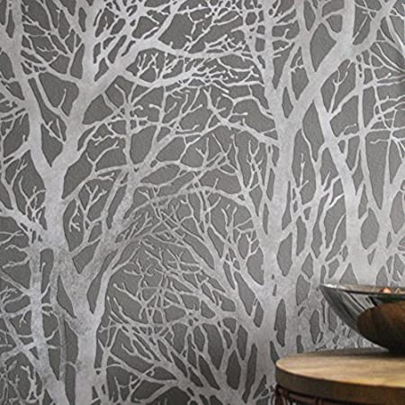 Metallic Grove Tree Wallpaper In Grey Silver Metallics Full