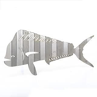 "product image for Surf To Summit Corrugated Fish Sign Lobster Metal Sign Mahi Mahi Vintage Salmon Plasma Cut Corrugated Piranha Steel Restaurant Sign Rustic Metal Sign Grill Home Shop Wall Bar Sign (Mahi Mahi 20""x10"")"