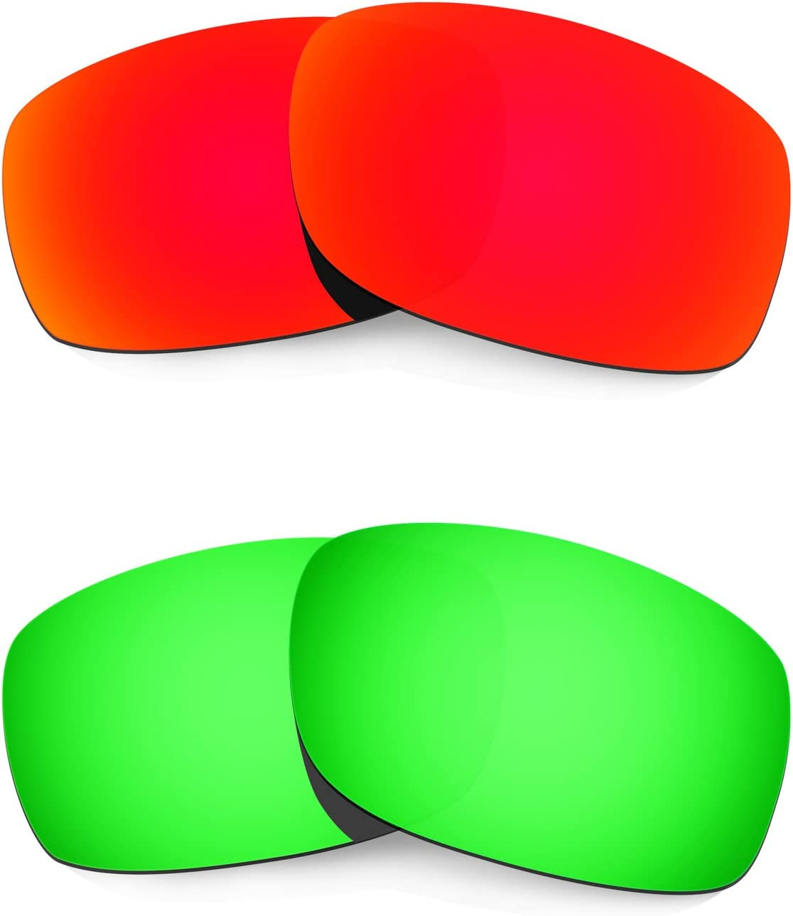 HKUCO Mens Replacement Lenses for Oakley Fives Squared Sunglasses Red/Emerald Green