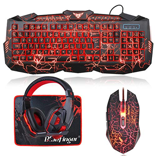 Crack Backlit Gaming Keyboard Mouse and LED Gaming Headset Combo,BlueFinger 114 Keys USB Wired Mechanical Feeling Keyboard,3 Color Blue/Red/Purple LED Backlit,Gaming Mouse Pad for Gamer Office