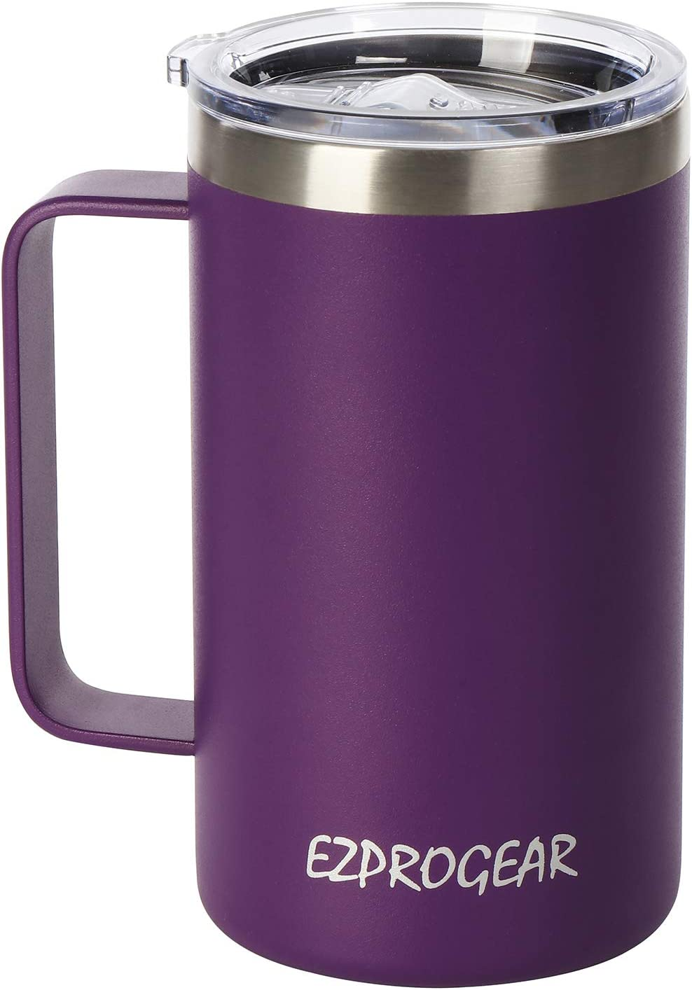 Ezprogear Stainless Steel 24 oz Coffee Mug Purple Grape Beer Tumbler Double Wall Vacuum Insulated with Handle and Lid (24 oz, Grape)