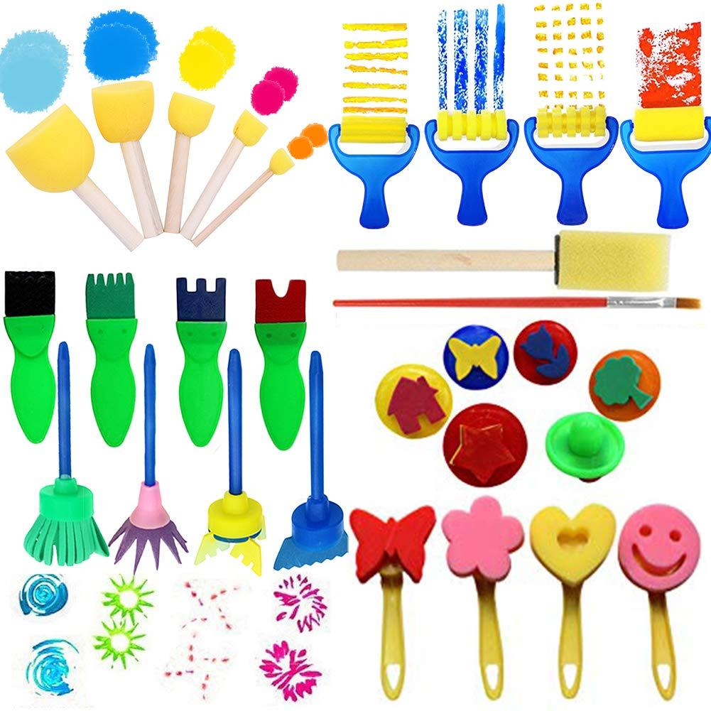 Paint Kits for Kids, 29 Pcs Early Learning Brush Set Foam Sponge Brushes, Kids Drawing Tools Flower Roller Stamp Sweeper DIY Crafts Arts by RUNSTAR