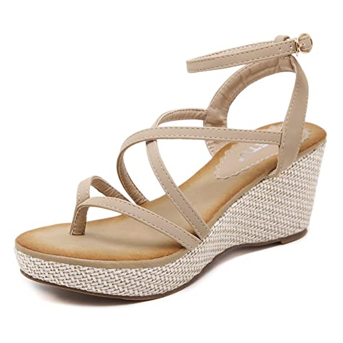b5b32055998 Navoku Women s Leather Buckled Stylish Thong Wedge Sandals Beige 39 8 D(M)  US