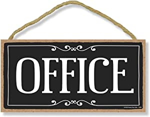 Honey Dew Gifts Hanging Wooden Signs, Office, 5 inch by 10 inch Hanging Door Sign, Home and Office Wood Decor, Housewarming Gifts