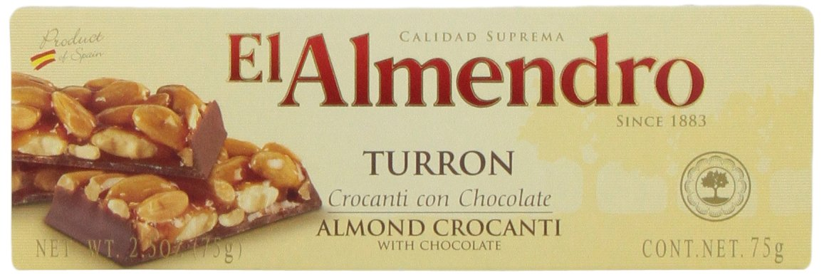 EL Almendro Turron Almond Crocanti With Chocolate, 2.5-Ounce Boxes (Pack of 16)