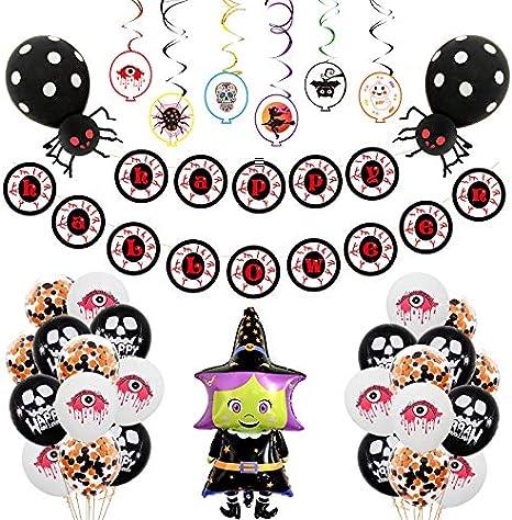 CHENGL Globos de Decoraciones de Halloween, 24 Pack Kit de Decoraciones de Halloween Que Incluye Feliz Halloween ...