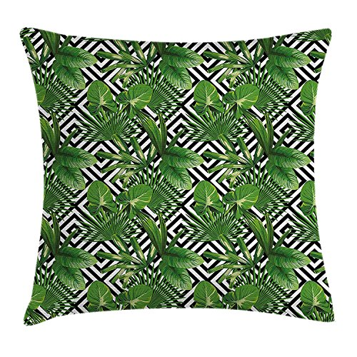 K0k2t0 Banana Leaf Throw Pillow Cushion Cover by, Coconut Palm Tree on Modern Abstract Backdrop Rainforest Design, Decorative Square Accent Pillow Case, 18 X 18 Inches, Black White Hunter Green (Settee Hunter)