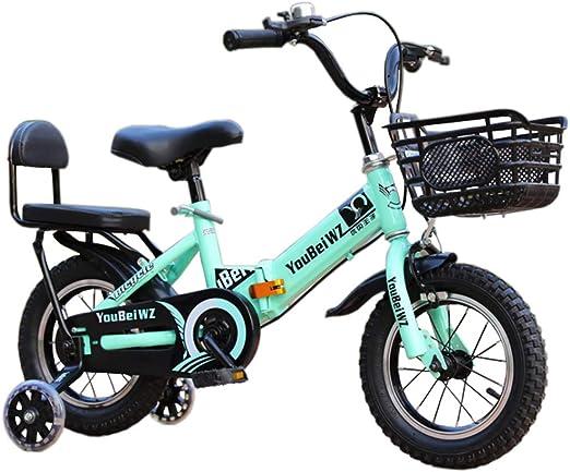 YWZQ Bicicleta para niños, Marco Plegable Alto Acero Carbono Neumáticos Antideslizantes Resistentes al Desgaste Frenos Dobles Seguros y sensibles Bicicleta Ajustable para niños Regalos,Verde,14: Amazon.es: Hogar