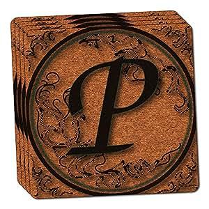 Vintage Letter P Initial Black Tan Thin Cork Coaster Set of 4