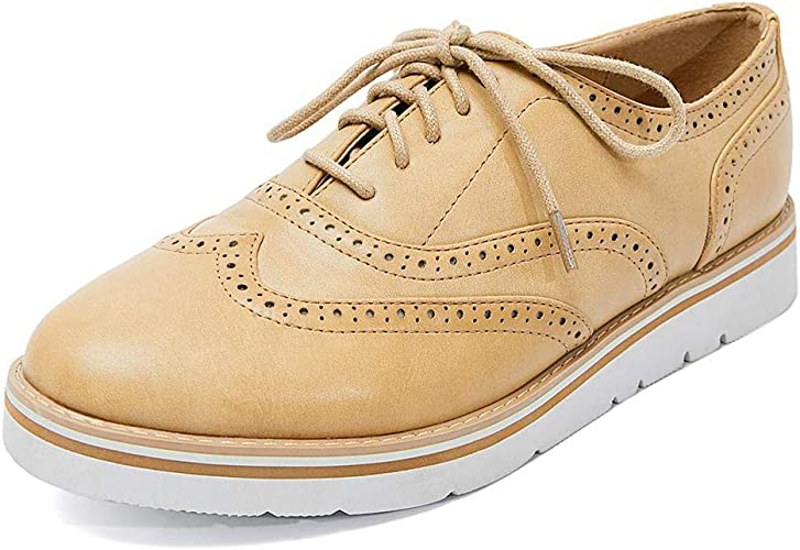 GOUPSKY Women Brogues Lace-up Oxford