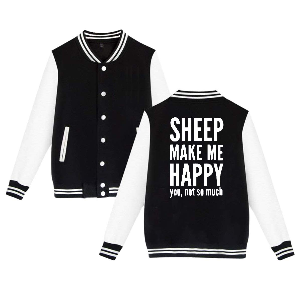 Back Print Unisex Baseball Jacket Uniform Sheep Makes Me Happy Boys Girls Hoodie Sweatshirt Sweater Coat